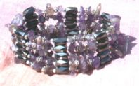 Magnetic Wrap Bracelet/Necklace - Amethyst Gem Chips